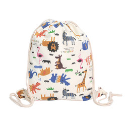 School Backpack Canvas Sport Bag Australia - Canvas Sport Bags Cute Kid Baby Animal Swimming Bags Gym Pump Bag Sports School Drawstring Boy Girl Camping Swimming Backpack 0