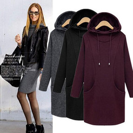 $enCountryForm.capitalKeyWord NZ - 2017 thickening Winter Hooded Sweatshirt Dress Women Long Sleeve Pocket Casual Shift plus size XS- 5XL 6XL Hoodies & Sweatshirts
