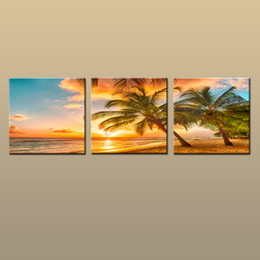 Art Canvas Prints Australia - Framed Unframed Large Contemporary Wall Art Print On Canvas Hawaii Palm Tree Beach Sunset Glow Landscape 3 pieces Picture Home Decor abc241