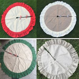 wrinkle skirt 2019 - Christmas Tree Skirt Decoration Ornament With Lace Wrinkle Canvas Linen Burlap Xmas Home Decor 3 Colors WX9-931 cheap wr