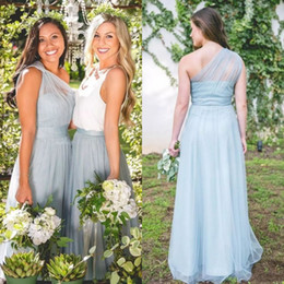 $enCountryForm.capitalKeyWord NZ - Fall 2018 Country Wedding Bridesmaid Dresses Mix and Match Styles A Line Long White and Blue Tulle Formal Maid of Honor Dresses Custom
