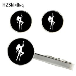 pole for dance Australia - New Ballroom Dancing Tie Clip and Cufflink Set Pole Dance Clips Dancer Cufflinks Sex Girls Cuff Gifts For Women CT-0046