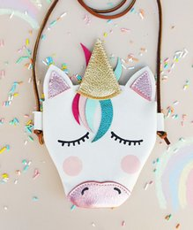 Wholesale Baby Girls Unicorn Messenger Bag Pu Leather Cartoon Cute Cross Body Kids Mini Shoulder Bag Boutique New