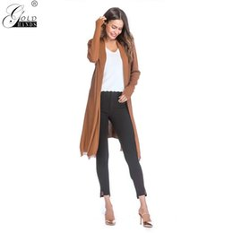 Wholesale Gold Hands Autumn Winter New Fashion Cardigan Long Sleeved Thin Coats Ladies Outerwear Solid Skinny Office Lady Casual Coat