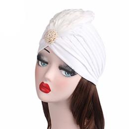 $enCountryForm.capitalKeyWord NZ - Muslim Vintage Polyester Women's Strech Twill Feather Pearl Ruffle Chemo Hat Beanie Turban Cap Headwear Wrap Plated for Cancer Patients