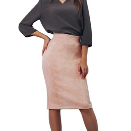 001771f184 Sexy Women's Suede Pencil Skirt Solid Color High Waist Woman Skirts Split  Zip Faux Leather Bodycon Midi Skirts Womens Jupe Femme