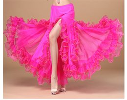 IndIan women sexy clothes online shopping - New Chiffon Sexy High Split Long Skirt Women Oriental Professional Belly Dance Performance Skirt Flamenco Indian Gypsy Practice Clothes