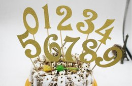 number cakes cupcakes 2019 - 10pcs (0-9) Gold Sier Glitter Numbers Personalized Cake Topper Kit Wedding Birthday Cupcake Party Decorations cheap numb