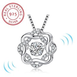 two heart pendant 2019 - Two Colors Fashion Classic Rotate Dancing CZ Stone 925 Sterling Silver Pendant Necklace For Women Fashion Jewelry Gift F
