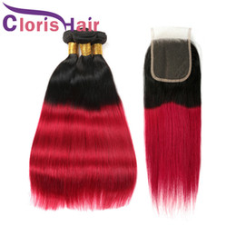 dark red hair weave 2019 - 1B Red Ombre Straight Hair Extensions Two Tone Red Brazilian Malaysian Virgin Human Hair Weaves With Lace Closure Dark R