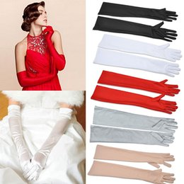 Wholesale Satin Long Finger Elbow Sun protection gloves Opera Evening Party Prom Costume Fashion Gloves black red white grey women