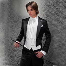 Wholesale men wedding long coat resale online - Custom Made Tailcoat Black Men Suit Vintage Long Coat Handsome Wedding Suits for Groom Tuxedos Piece Jacket Classic Suits with Pants Prom