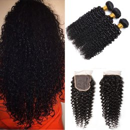 Wholesale 10A Brazilian unprocessed virgin kinky curly with closure X4 Lace Closure Brazilian Kinky Curly Hair Weave Extension Bundles Natural Color