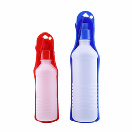 Pet Feeder Bottle Water UK - Dog Water Bottle Feeder With Bowl 250ml 500ml Plastic Portable Water Bottle Pets Outdoor Travel Pet Drinking Water Feeder Bowl