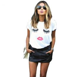 $enCountryForm.capitalKeyWord NZ - Eyelash red lips tshirts print letters female T-shirt plus size femme harajuku shirt women tops 2019 summer tee shirt