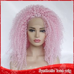 Discount heat resistant hair synthetic curly - Pink Cosplay Kinky Curly Wigs with Baby Hair 180% Density Heat Resistant Halloween Party Glueless Synthetic Lace Front W