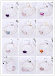 $enCountryForm.capitalKeyWord Australia - Freshwater Pearl Bead Women Bracelet Fine Jewelry Natural Stone Flower Rose Quartz Silver Heart Clasp Accessories Gift
