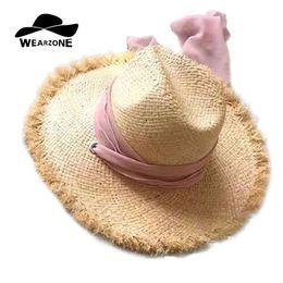 0cd0a13f WEARZONE Marca Mujeres Naturales de Ala Ancha Rafia Sombreros de Paja  Franja de Mujeres Llano Playa Grande Sol de Verano Caps Big Straw Cap  bufanda Cap