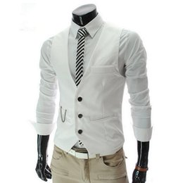 $enCountryForm.capitalKeyWord Australia - Men Polyester Dress Vests For Men Slim Fit Mens Vest Male Waistcoat Gilet Homme Casual Sleeveless Formal Business Jacket