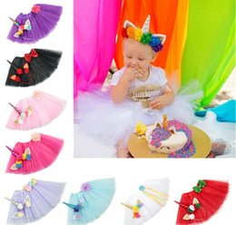 6f0b57321 Girls INS Unicorn TUTU skirt +hair accessory sets 9 Color Summer lace Bow  flower decoration short skirt kids dress 1~6years LC799-1