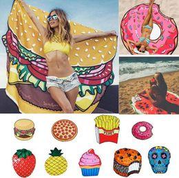 $enCountryForm.capitalKeyWord NZ - Pineapple Sugar Skull Watermelon Emoji Donut Pizza Irregular Cartoon Microfiber Round Beach Towel scarves shawl Digital Printed shawl