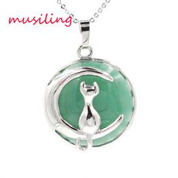 $enCountryForm.capitalKeyWord NZ - Pendants Pendulum Moon and Cat Jewelry For Women Natural Stone Crystal Charms European Healing Chakra Amulet Fashion Men Jewelry