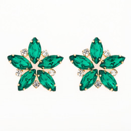 Chinese  Fashion Hot Sale Full Rhinestone Stud Earring For Women Vintage Crystal Large Flower Earrings Wedding Gift E076 manufacturers