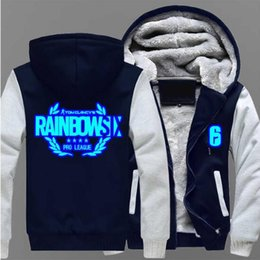 cosplay six 2019 - Dropshipping Rainbow hoodie luminous Six Siege Winter Coat Game Cosplay For Men Hoodies Thicken Coat Fleece Sweatshirts