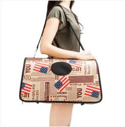 Оптовая Бесплатная доставка сумка перевозчик комфорт собака путешествия сумка коричневый флаг шаблон на Распродаже