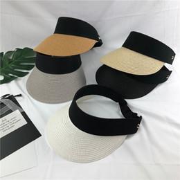 Christmas Visor Canada - Women Straw Sun Visor Hat Wide Brim Foldable Empty Top Beach Tennis Cap Summer Fashion 10pcs lot