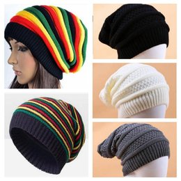 fc745606945 Women Winter Warm Hats Girls Jamaican Reggae Wool Cap Fashion Colorful  Stripe Beanies Long Rainbow Knit Hat Pullover Caps 5 Colors YL682