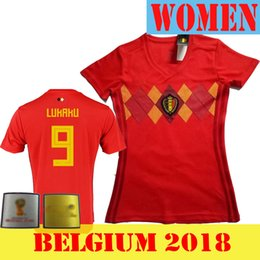 2cab1f8ee12 woman Belgium 2018 World Cup Home red Thailand Quality LUKAKU FELLAINI  E.HAZARD KOMPANY DE BRUYNE Soccer Jersey 18 19 Belgium football shirt