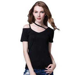 de1610d7429f6 Off Shoulder T-Shirt Women Solid Tee Shirt Femme O-Neck Woman T shirt Top  Regular Basic tops Soft Grey black white 4xl