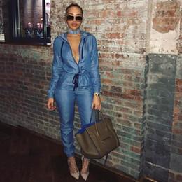 Women blue jean jumpsuit online shopping - European Fashion Jeans Jumpsuit Women Long Sleeve Hooded Rompers Women Jumpsuit Denim Overalls