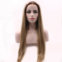 Full head wigs online shopping - Brown Synthetic Wig Ombre Long Straight Full Head Half Hand Tied Tones Light Brown To Ash Blonde Synthetic Lace Front Wig