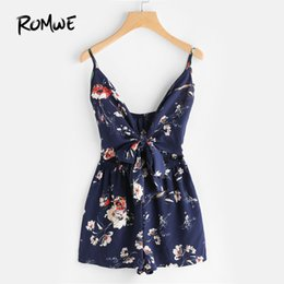 72061699ce32 Floral Print Cut Out Knot Front Cami Romper V Neck Rompers for Women 2018  Summer Navy Sleeveless Sexy Romper