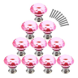 $enCountryForm.capitalKeyWord Australia - 10Pcs Set 30mm Crystal Glass Diamond Shape Cabinet Knobs Cupboard Drawer Pull Handles - Pink
