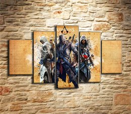$enCountryForm.capitalKeyWord NZ - Assassins Creed,5 Pieces Canvas Prints Wall Art Oil Painting Home Decor (Unframed Framed) #09