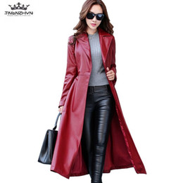 668e74e237f Long Red Leather Trench Coats UK - 2018 Spring Autumn Women Leather Jacket  Fashion High-