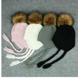 Baby Boy Skull Crochet Beanies Australia - Cute Kids Fur Pompom Beanie Hat Baby Child Crochet Woolen Knitted Cap Winter Warm Boys Girls Pom Pom Hair Ball Hats Bonnet