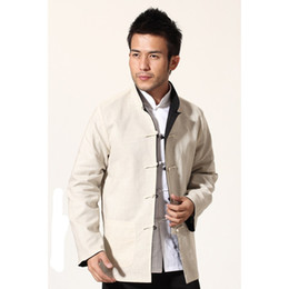 chinese jacket kung fu Canada - Black Beige Novelty Reversible Chinese Men Jacket Cotton Linen Kung Fu Coat Two Side Outwear M L XL XXL XXXL MN18
