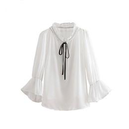 181a86271520f0 See Through Shirt Collared White UK - women ruffled white chiffon blouse  bow tie collar flare