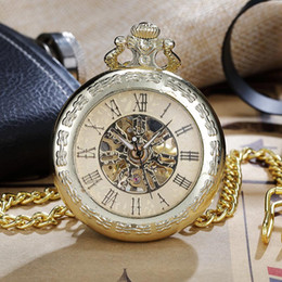 Pocket Clock Skeleton Canada - New Luxury Steampunk Skeleton Vintage Mechanical Pocket Watches Hand-wind Roman Numerals Fob Chain Clock Men Women Gold Gift