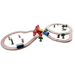 China 42pcs lot DIY baby Wooden educational Tomas Railway Train Track slot Toys for kids suppliers