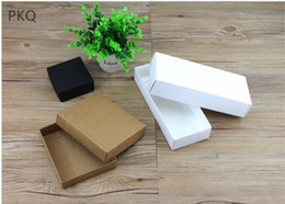 Wholesale Boxes Packaging Australia - 20pcs lot Kraft paper gift cardboard boxes for packaging White Cardboard boxes Black gift packing box with lid