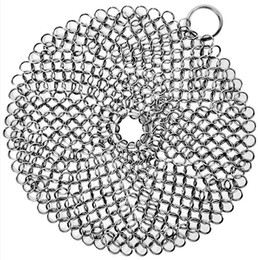 Chinese  Cast Iron Cleaner 316L Stainless Steel Chainmail Scrubber for Cast Iron Pan Pre-Seasoned pans Dutch Ovens Waffle Iron Scraper manufacturers