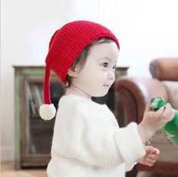 CroChet elf hats online shopping - Kids Winter Hat Christmas Elf Pompom Hat Cap Kids Soft Stretchy Knit Slouch Long Tail Beanie Cap Hat Peach