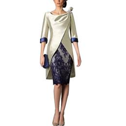 2018 setwell azul marino con encaje madre de la novia viste medias mangas con chaqueta funda madre de novio vestido hasta la rodilla vestido de noche en venta