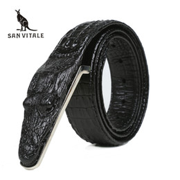 Male green jeans online shopping - Crocodile Belts for Men Cowhide Genuine Leather Luxury Brand Strap Male Buckle Belt Fancy Vintage for Jeans Cintos Dropshipping
