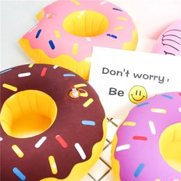 Discount inflatable cartoon toys - PVC Inflatable Drink Cup Holder 5 styles Donut Watermelon Pineapple Lemon Shaped Floating Mat Floating Pool Toys T1I286